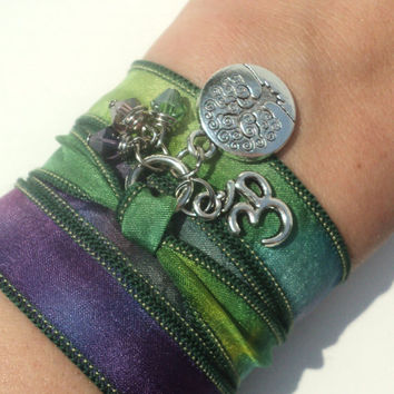 Tree of Life Silk Wrap Bracelet Yoga Mother Nature Om Jewelry Anklet Necklace Earthy Unique Gift Under 50 Item C28