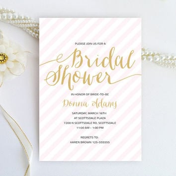 Bridal Shower invitation - Blush pink and gold calligraphy style invitation - Modern script invitation printed on luxury metallic paper