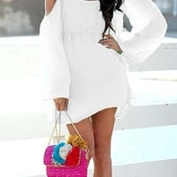 Boho White Off Shoulder Kimono Long Bell Sleeve Dress Crochet Inset