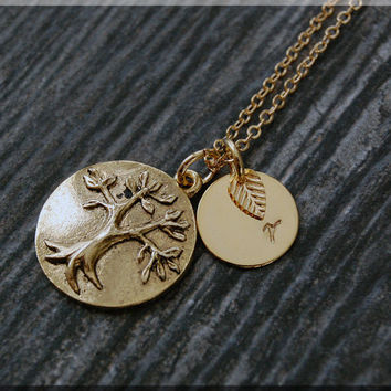 Gold Tree of Life Necklace, Initial Charm Necklace, Personalized Necklace, Family Charm, Tree pendant, Family Inspired Jewelry