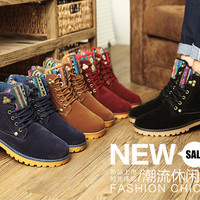 British style winter shoes woman snow suede boots flat heels martin boots men 39-44