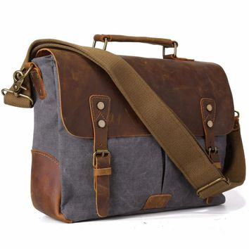 TIDING Men Canvas Tote Bags Leather Hobo Padded Strap Crossbody School Bag Organizer For Macbook Pro 11435
