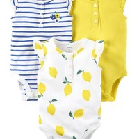 3-Pack Flutter-Sleeve Bodysuits
