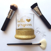 Hello Gorgeous // Glitter Dipped Makeup Brush Holder