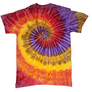 Tie Dye Shirt Multi Color Red Yellow Purple Festival Spiral Kids T-Shirt