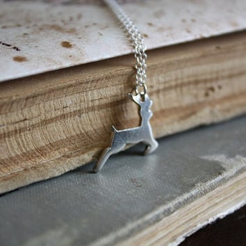 ON SALE Stag Necklace - Forest Creature - Woodland Necklace - Deer Necklace