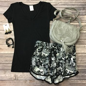 Goes With Everything V-Neck Top: Black