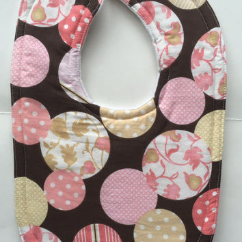 Baby bib flannel baby girl boy infant feeding bib gender neutral bib unisex pink brown cotton floral layette polkadot drool bib baby shower