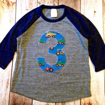 Navy and Grey Baseball Raglan 3rd Birthday 3 - farm tractor construction trucks digger dumptruck loader Fabric Birthday Shirt Birthday