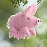 Felt Stitched Pink Pig Ornament