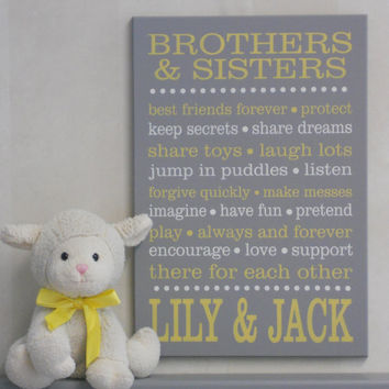 PERSONALIZED Name BROTHERS & SISTERS Sibling Gift, Yellow Gray Baby Girl / Boy Nursery, Subway Sign, Baby Shower Gift, Wall / Room Art Decor