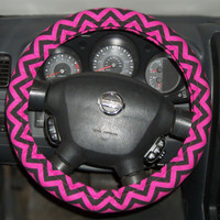 Steering Wheel Cover Popular Bright Chevron Prints- Fuchsia and Black- Bow Not Included