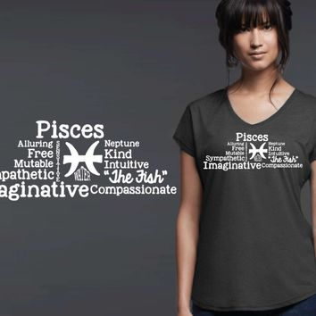Pisces Word Art Zodiac T-shirt