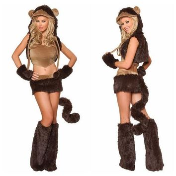 Naughty Monkey Adult Costume Sexy Women Party Animal Costumes Halloween Cosplay Costumes Cute Carnival Costumes (color: Brown) = 1945938820