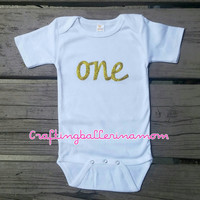 One Birthday Gold Onesuit - First Birthday Gold Sparkle Outfit - One - Baby Girl First Birthday - Second Birthday - Gold Pink - Personalized