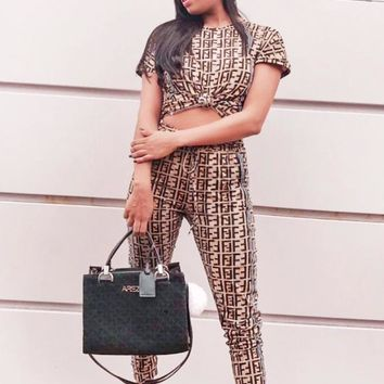 Fendi Summer New Fashion More Letter Print Sports Leisure Top And Pants Two Piece Suit