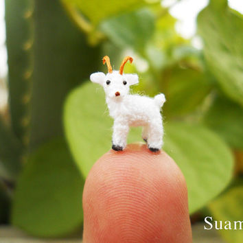 0.4 Inch Micro Goat In Tiny Dome - Tiny Amigurumi Miniature Crochet Stuff Animal - Made To Order