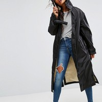 ASOS Maxi Raincoat with Borg Lining at asos.com
