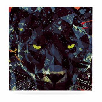 "Mayka Ienova ""Le Noir Parduc"" Black Animals Luxe Square Panel"