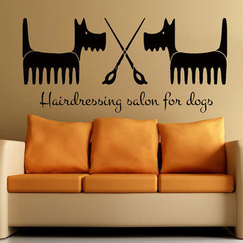 Wall Decals  Dog Grooming Salon  Decal Vinyl Sticker  Pet Shop Scissors  Home Interior Design Art Mural MN345