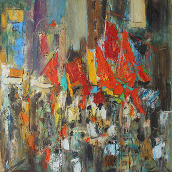 Impasto Original oil painting on canvas Palette knife China town Figurative Fine art Stretched wall art Large Modern artwork Abstract