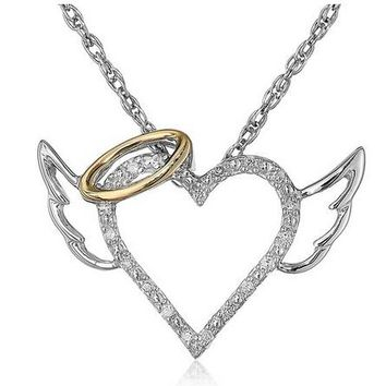 Fashion Angel Wings Love Heart Pendant Necklace