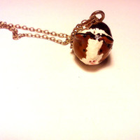 Vintage Handmade Guinea Pig Clay Pendant Necklace Gold
