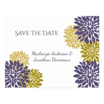 Purple and Gold Glitter Petals Save The Date Postcard