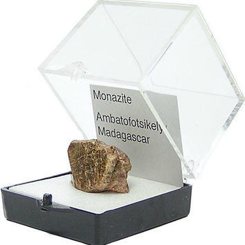 Monazite Crystal Rare Phosphate rare earth metals Mineral Thumbnail African Specimen in museum box, rockhound geo gemstone earth collectible