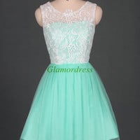 Short ivory lace mint tulle bridesmaid dresses,cheap prom dress under 100,discount bridesmaid gowns simple.