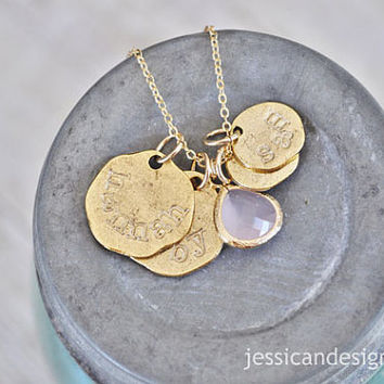 Personalized Gold Family Necklace - 4 Gold Medallions Personalized with the Names of your Choice