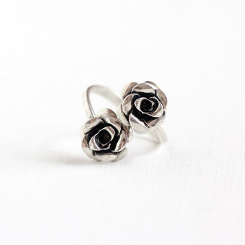 Vintage Sterling Silver Rose Bypass Ring - Retro Hallmarked Beau Adjustable Statement Modernist Flower Floral Jewelry