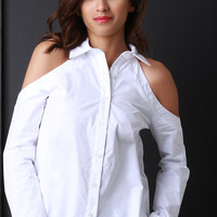 Classic Collar Cold Shoulder Button-Up Shirt