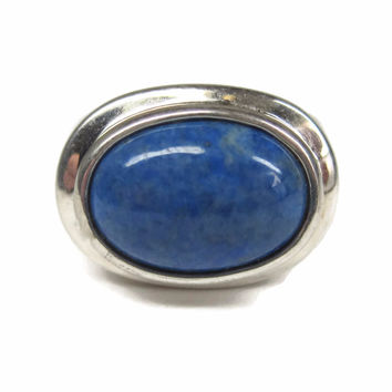 Vintage 90s Sterling Denim Lapis Ring Size 6