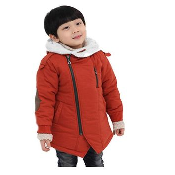 Cashmere Warm Hooded Kids Thick Fur Coats