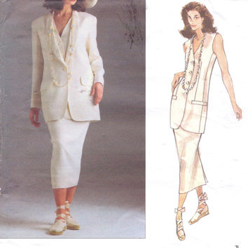 90s Donna Karan Vogue American Designer Pattern 1165 Womens Long Jacket, Fitted Vest and Slim Skirt Size 12 14 16 Bust 34 36 38 UnCut