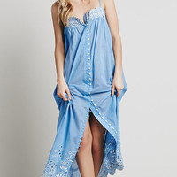 Blue Embroidered Starp Midi Dress