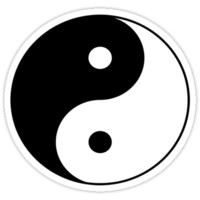 90's Grunge Hippie Peace Black and White Ying Yang Symbol