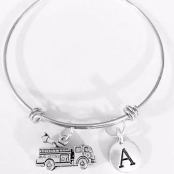 Adjustable Bangle Charm Bracelet Fire Truck Firefighter Mother's Day Initial