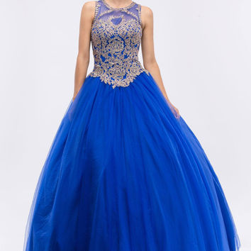 Royal Blue Quinceanera Dress with Golden Applique Cut-Out Back Sleeveless
