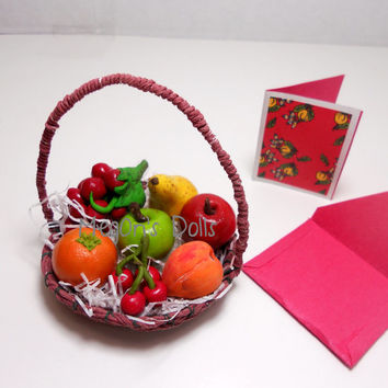 "18"" Doll Food Fruit Bowl Basket Apple, Orange, Nectarine, Strawberries, Pear"