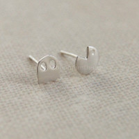 Cute Pacman earrings,sterling silver earring studs