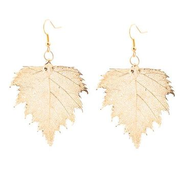 Real Gold leaf Earrings Birch Leaf - Small