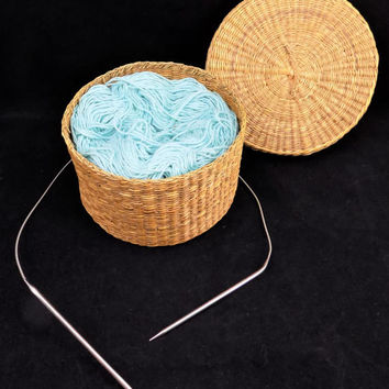Round Woven Basket, Steel Circular Knitting Needles, Light Turquoise Blue, Vintage Hand Woven Basket, Filled with Yarn
