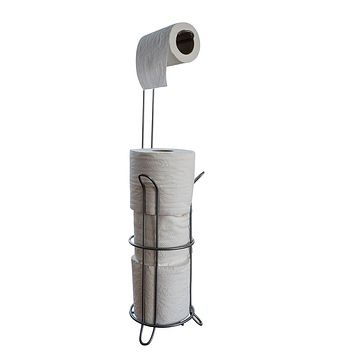 Free Standing Toilet Paper Roll Holder With Reserve, Holds Up To 4 Rolls