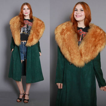 60s LEATHER & LAMB Fur COAT / 1970s Forest Green Suede Shearling Trim Jacket