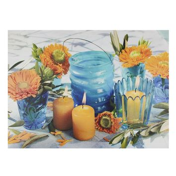 "LED Lighted Flickering Candles and Flowers Glass Candles Canvas Wall Art 12"" x 15.75"""