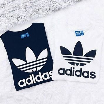 Adidas Sexy Print Letter Short Shirt Crop Tops Black