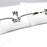 My Half Your Half Pillows Pillow Cases My Side Your Side Pillowcases -another funny gift idea for the Bed Hog in your Life