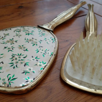 Vintage Gold Toned Mirror and Brush Vanity Set With Flowers Great Decor Boudoir Photo Prop